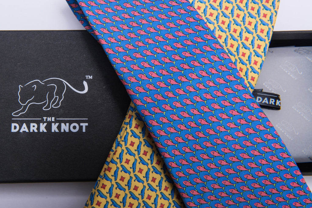 Yellow Printed Silk Tie