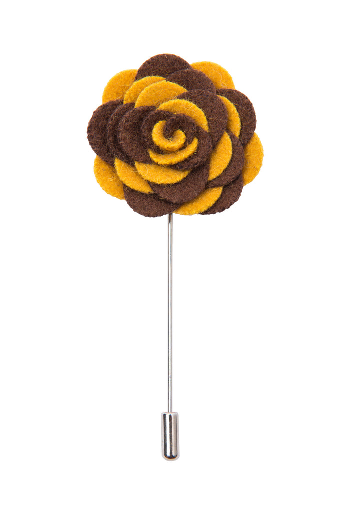 Brown and Yellow Lapel Flower