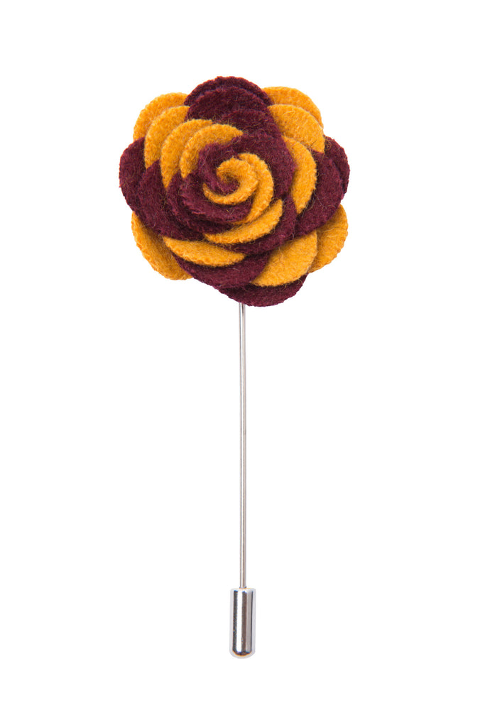 Burgundy and yellow lapel flower