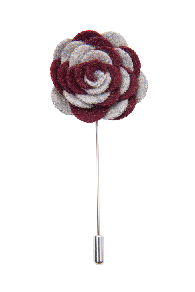 Grey and burgundy lapel flower