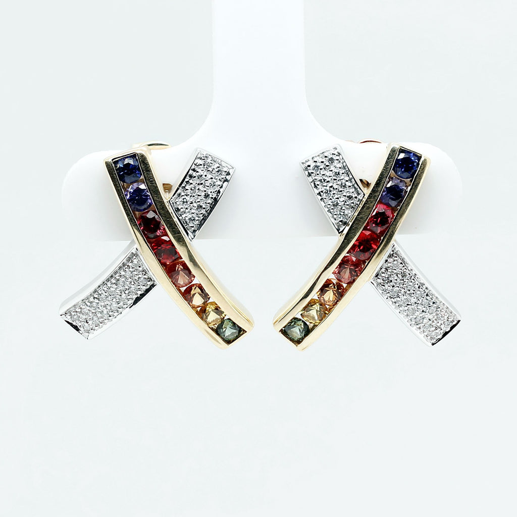 Customized/Personalized 14K White and yellow gold X-shape earrings set with top-quality, highly saturated channel set round brilliant cut natural rubies, sapphires and diamonds yves lemay jewelry https://youtu.be/ZBNLsWoWsok