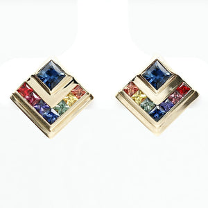 Customized/Personalized 14K Yellow gold art deco style earrings set with top-quality highly-saturated natural princess brilliant cut sapphires and rubies yves lemay jewelry https://youtu.be/4TgGy0Oz4eE