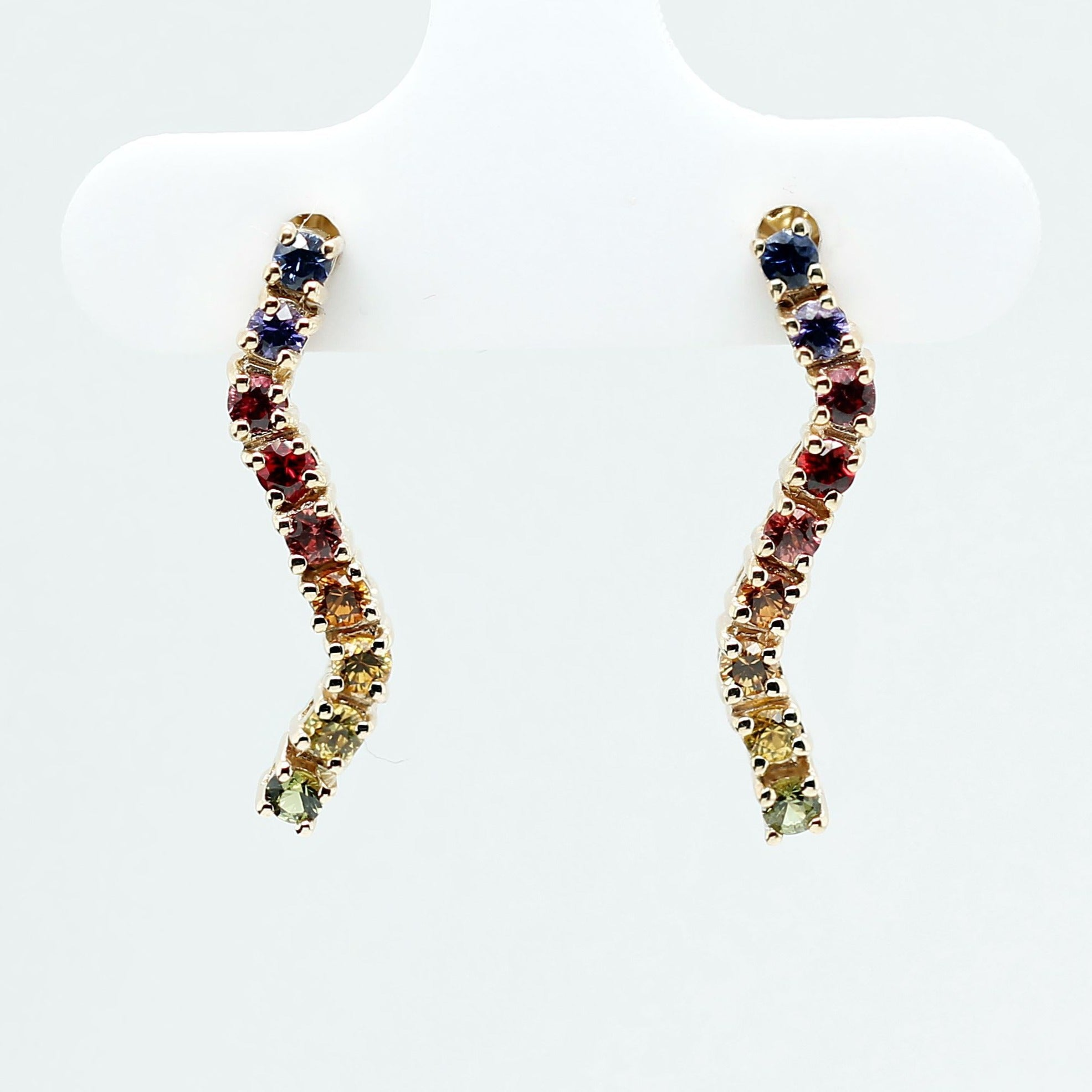 Short wave rainbow earrings with natural round brilliant cut sapphires and rubies