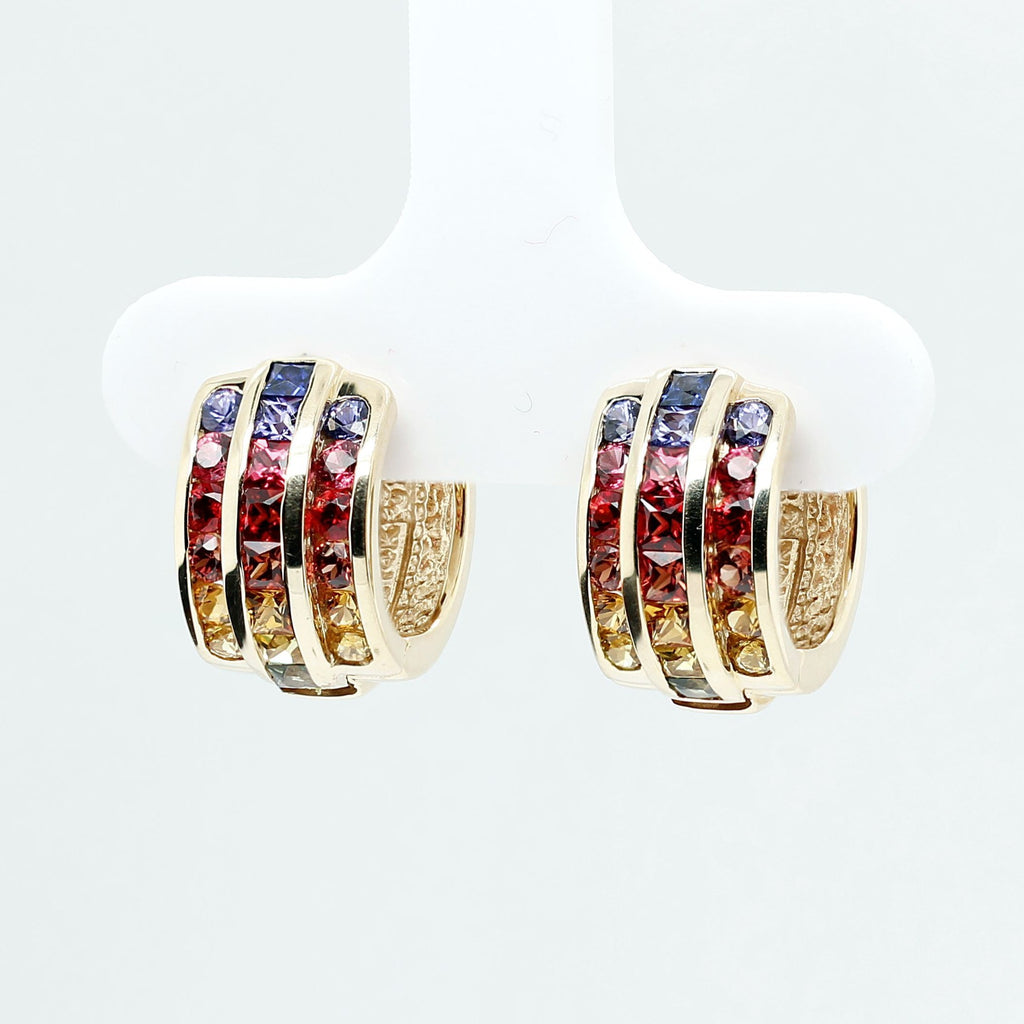 Customized/Personalized 14K Yellow gold huggie earrings set with top-quality natural sapphires and rubies yves lemay jewelry https://youtu.be/QCKYtOELbHE
