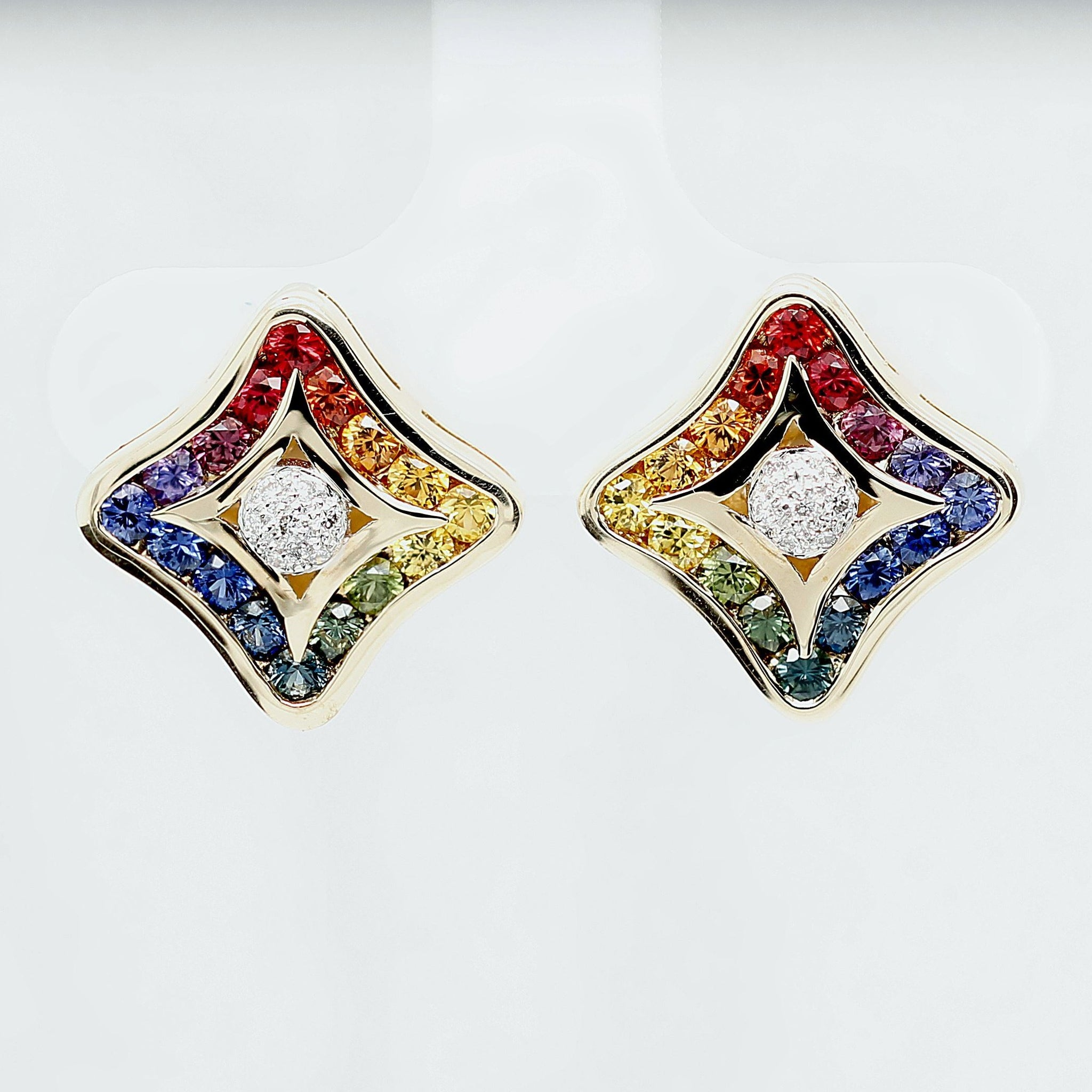 Square shape earrings with top-quality round brilliant cut natural sapphires, rubies, and diamonds