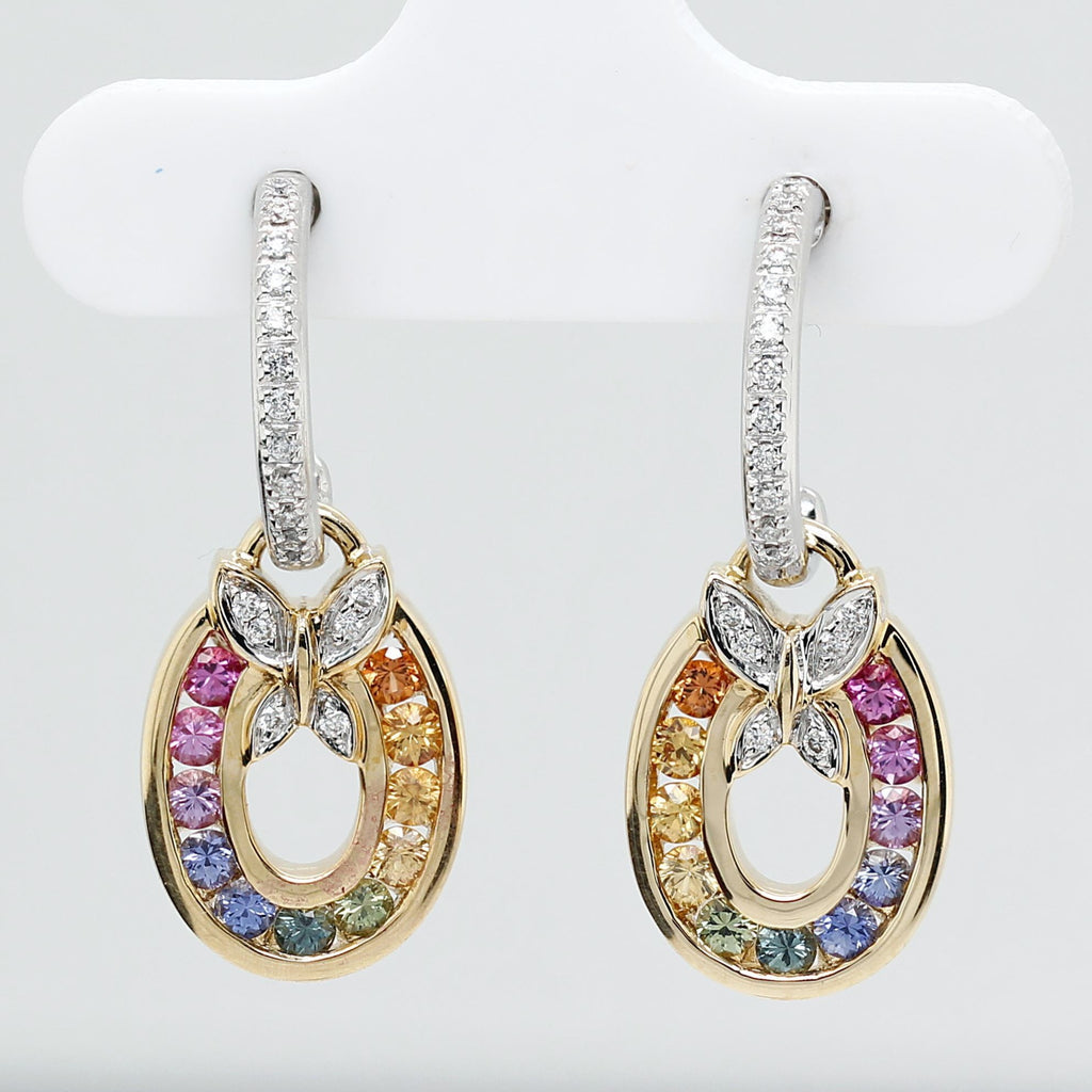 Customized/Personalized 14K White and yellow gold dangling oval earrings set with top-quality channel set round brilliant cut natural sapphires and diamonds yves lemay jewelry https://youtu.be/FWTmMhfPzRM