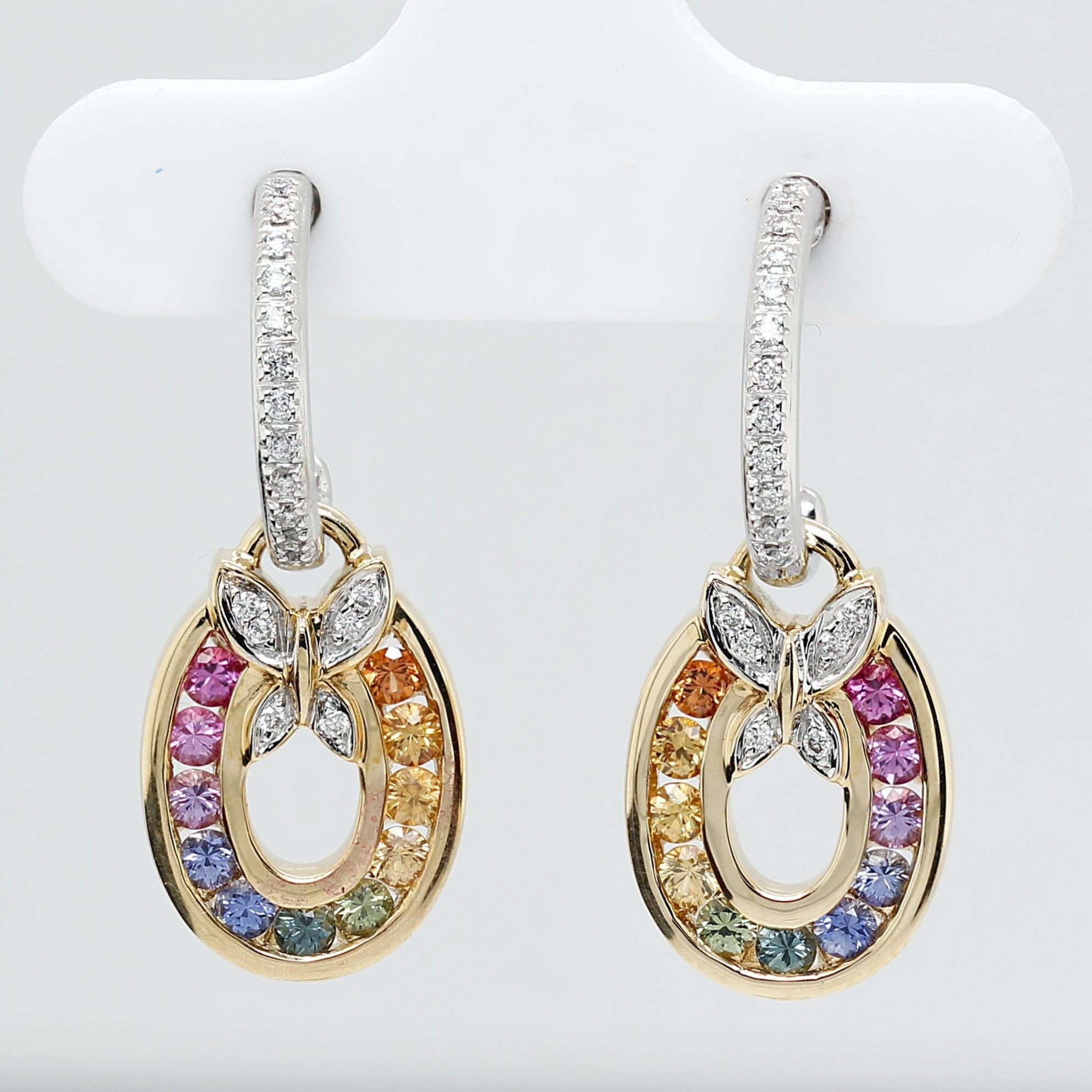 Dangling oval earrings with top-quality round brilliant cut natural sapphires and diamonds