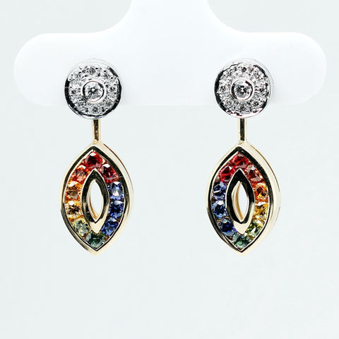Partially articulated earrings with top-quality round brilliant cut natural rubies and sapphires