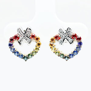 Customized/Personalized 14K White and yellow gold heart shape earrings set with top-quality, highly saturated prong set round brilliant cut natural rubies, sapphires and diamonds yves lemay jewelry https://youtu.be/NYvT2KmGpwY