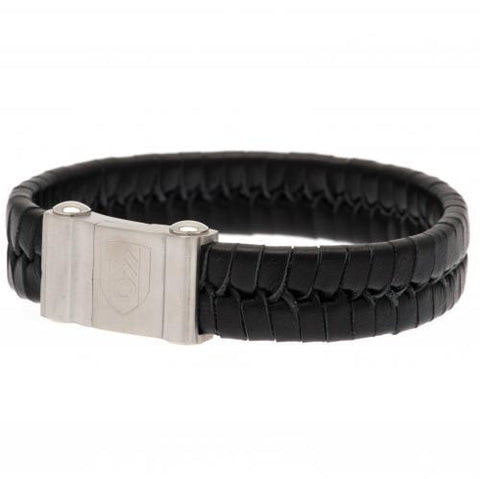 Fulham FC Single Plait Leather Bracelet
