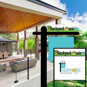 Backyard Oasis Real Estate Sign Rider