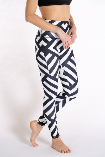 Black and White High Waist Joy Legging - Ebru Evrim