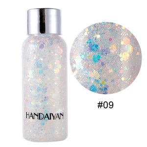 HANDAIYAN Holographic Mermaid Glitter Eyeshadow Gel Body Face Eye Liquid Loose Sequins Pigment Makeup Cream Party Festival Paste