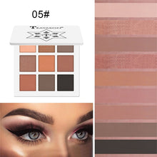 Load image into Gallery viewer, Glitter Diamond Eye Shadow Palette 9 Colors Shimmer Metallic Pigment Highlighter Red Black Eyeshadow Matte Eyes Makeup