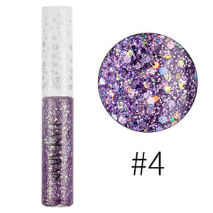 Holographic Color Glitter Eye Shadow Eye Liner Pencil Waterproof Shimmer Eyeshadow Liquid Mermaid Liquid Eyeliner Sequin Pigment