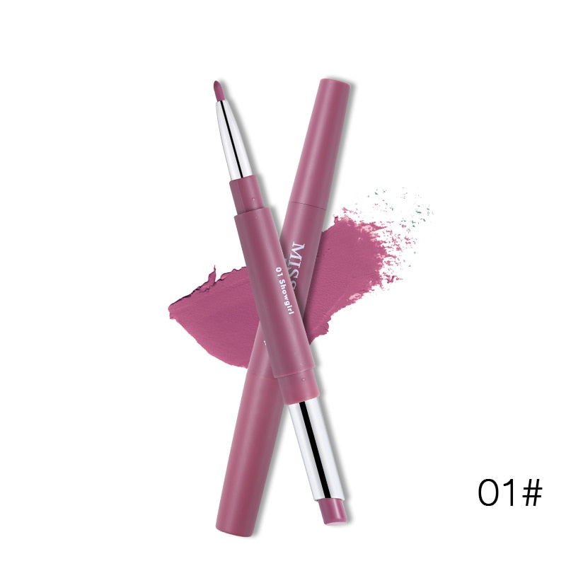 Miss Rose Brand 14 Colors Lipstick+Lipliner Pencil Dual Velvet Matte Batom Waterproof Nude Lip Liner Long-wearing Makeup Tool