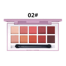Load image into Gallery viewer, 10 Colors Natural Matte Eye Shadow Palette with Brush Peach Red Waterproof Eyeshadows NEW Long-lasting Fine Powder Palettes D43