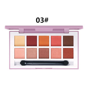 10 Colors Natural Matte Eye Shadow Palette with Brush Peach Red Waterproof Eyeshadows NEW Long-lasting Fine Powder Palettes D43