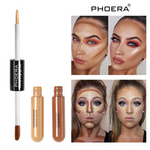 Load image into Gallery viewer, PHOERA Double Head 2 Colour Brighten Skin Concealer cream Foundation Bronze Lasting Oil Control Face Contour repair Makeup TSLM1