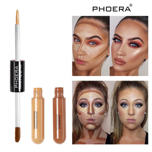 PHOERA Double Head 2 Colour Brighten Skin Concealer cream Foundation Bronze Lasting Oil Control Face Contour repair Makeup TSLM1