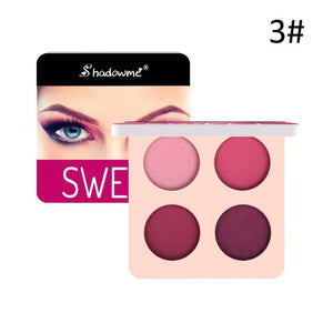 Makeup Eyeshadow Palette 4 Color Wine Red Glitter Shimmer Matte Long-lasting Eye Palette Waterproof Eyeshadow Pigment