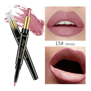 15 Color Lips Makeup Lipstick Sexy Red Lip Matte Long Lasting Lip Pencil Waterproof Stick Liner Double-end Black Matte Lipsticks