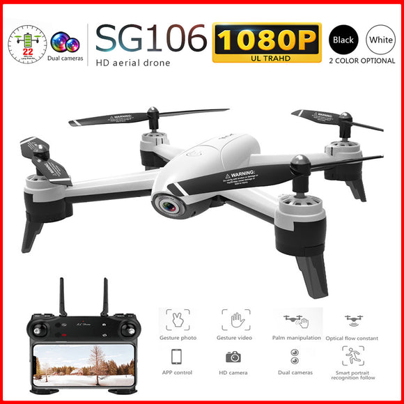 SG106 RC Drone 1080P/720P Double Cam4 CH Long Flytime Foldable Arm with Gesture Control Dron WIFI timely transmission VS E58 H51