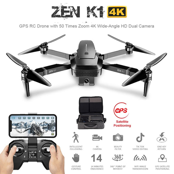 Visuo ZEN K1 GPS RC Drone with 50 Times Zoom 4K Wide-Angle HD Dual Camera Wifi FPV Brushless Motor 28 Mins Flight Time SG906