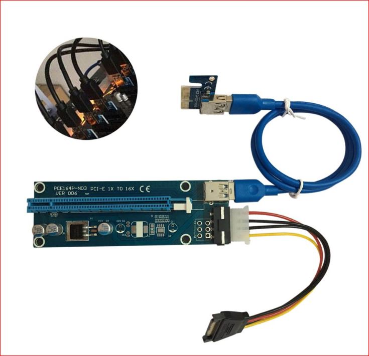 Astrotek PCI-E PCI Express 1x to 16x Adapter Riser Card Extension Power USB 3.0 Internal Cable - Used for mining / BTC / ETH crypto server 008 Version