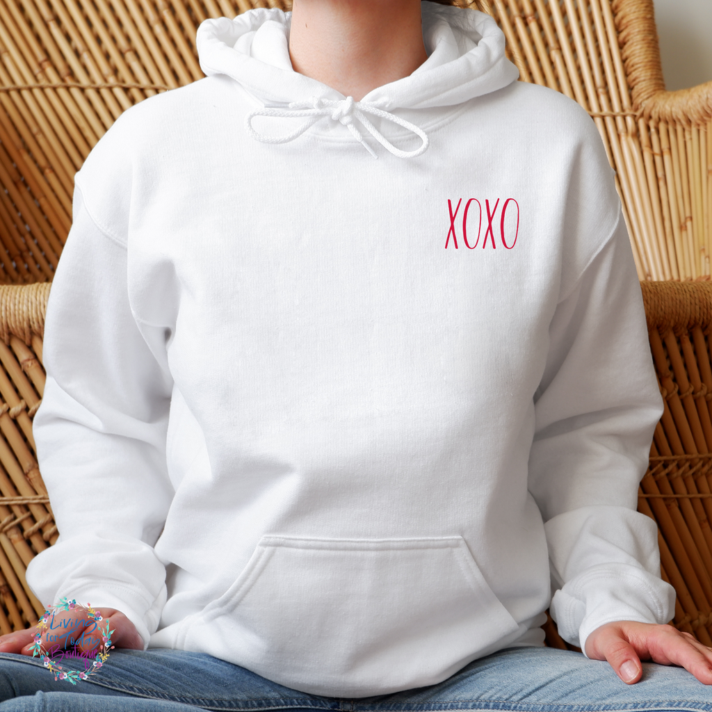 Red Embroided XOXO Hoodie