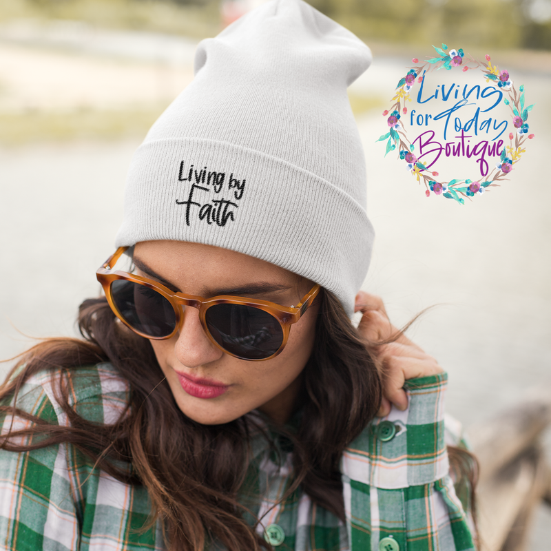 Living by Faith Cuffed Beanie - Living for Today Boutique