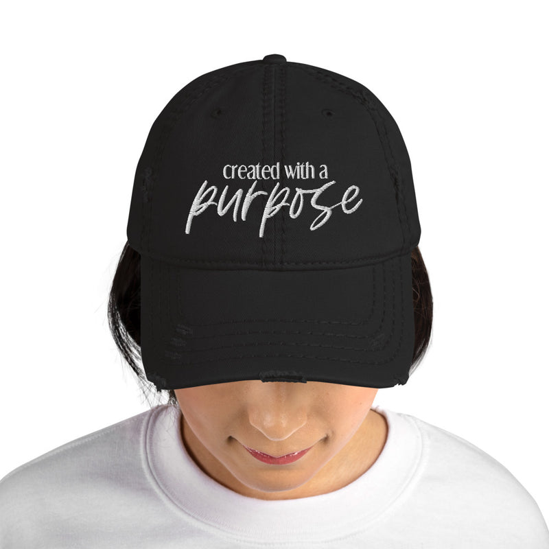 Created for a Purpose Distressed Dad Hat - Living for Today Boutique