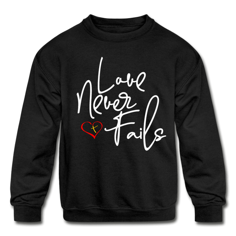 Love Never Fails Kids' Crewneck Sweatshirt - black