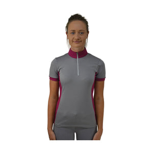 equestrian base layer, grey base layer, short sleeve horse base layer, short sleeve riding top, horse base layer with pink