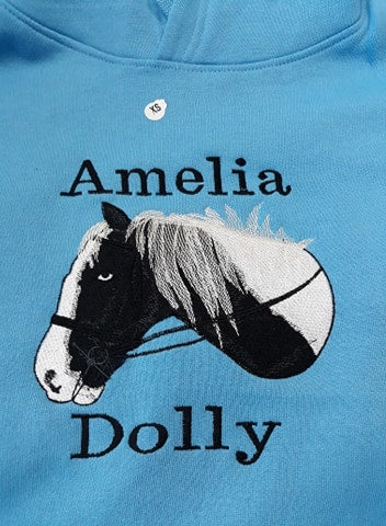Personalised equestrian hoodie, horse photo embroidery, horse hoodie, horse hoodies, personalised saddlecloths, personalised show rugs, personalised head collars, personalised equestrian wear, bespoke horse hoodies