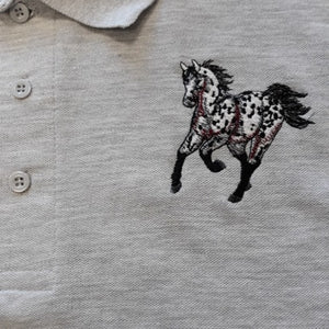 Equestrian polo shirt (adults) , spotty horse