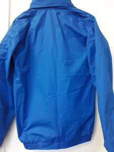 Waterproof horse riding jacket with chest logo and back logo showjumper or dressage logo