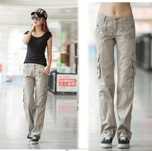 Multi-pockets Womens Straight Military Pants