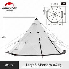 Load image into Gallery viewer, Naturehike Pyramid Tent Outdoor Camping Tent Pyramid Camping Tents Large Capacity Windproof Rainproof Waterproof Family Tent