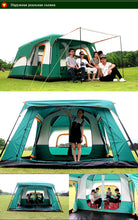 Load image into Gallery viewer, camping tent Two story outdoor 2 living rooms and 1 hall high quality family camping tent large space tent 8/10 Outdoor camping