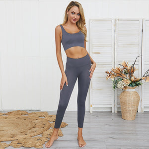2020 2PCS Women's Seamless Yoga Set Sportswear Sports Bra+Leggings