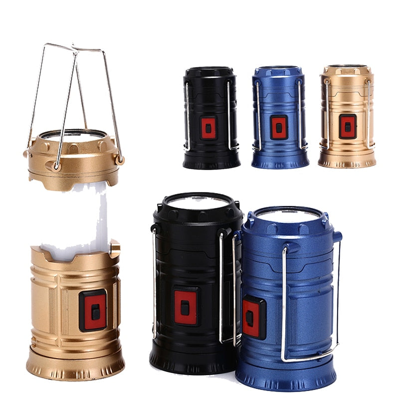 Hot Sale LED Camping Lantern Flashlights Collapsible Solar Tent Light Gear