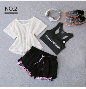 Sportswear 3 Piece Yoga Set Women Gym Cloth Sport Suit Shirt Top+Bra+Shorts