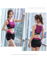 Load image into Gallery viewer, women yoga 5 pieces set High waist pants+coat+t shirt+bra+pants