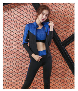 women yoga 5 pieces set High waist pants+coat+t shirt+bra+pants