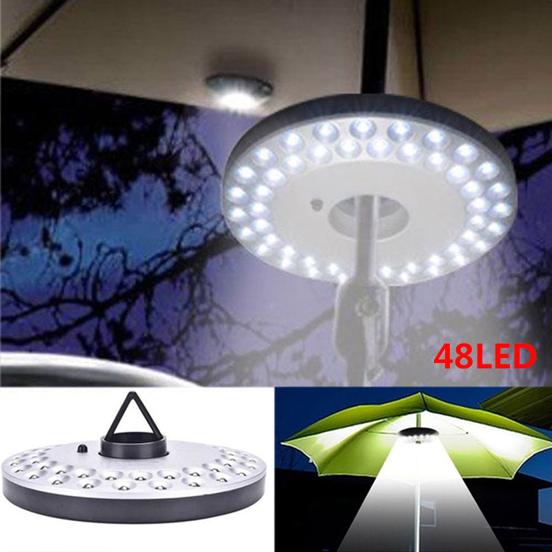 48 LED Umbrella Light Lantern Outdoor Camping Light Poles Tent Light With Hanging Hook For Garden Patio Beach Fishing Hiking