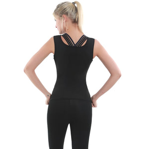 2020 New Women Yoga Sport Suit Slimming Pants Set 2Piece Female Slimming Shirt Vest