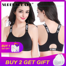 Load image into Gallery viewer, 2 PCS Women Sport Bra Top Black Padded Yoga