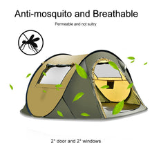 Load image into Gallery viewer, 5-8 Person Waterproof Camping Tent Automatic Pop Up Quick Shelter Outdoor Traveling Hiking Tent-Coffee/Green