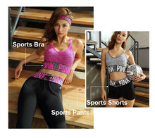Load image into Gallery viewer, PINK Women Yoga Sets Sports Bra+Yoga Pants+Shorts